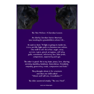 TWO WOLVES CHEROKEE TALE Native American Poster