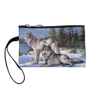 Two wolves in winter Siberian Coin Purse