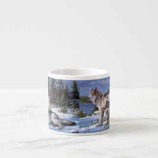 Two wolves in winter Siberian Espresso Cup