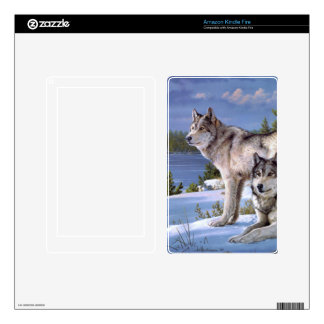 Two wolves in winter Siberian Kindle Fire Decals