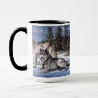 Two wolves in winter Siberian Mug
