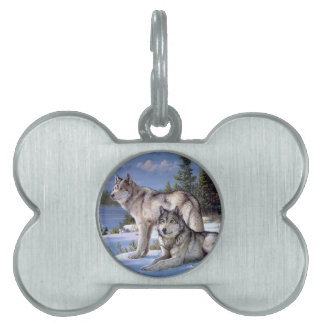 Two wolves in winter Siberian Pet Tag