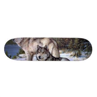 Two wolves in winter Siberian Skateboard Deck