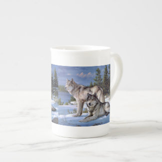 Two wolves in winter Siberian Tea Cup