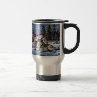 Two wolves in winter Siberian Travel Mug
