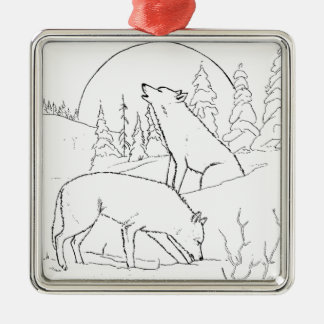 Two Wolves Metal Ornament