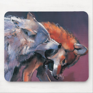 Two Wolves Mouse Pad