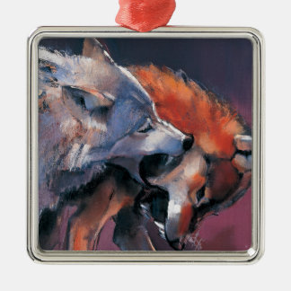Two Wolves Square Metal Christmas Ornament