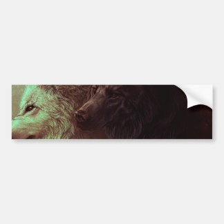 two wolves - painting wolf bumper sticker