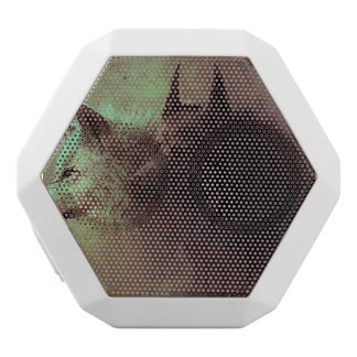 two wolves - painting wolf white bluetooth speaker