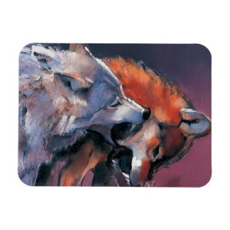 Two Wolves Rectangular Photo Magnet