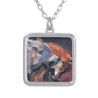 Two Wolves Silver Plated Necklace