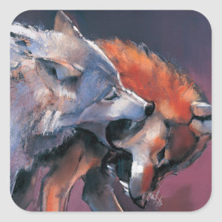 Two Wolves Square Sticker