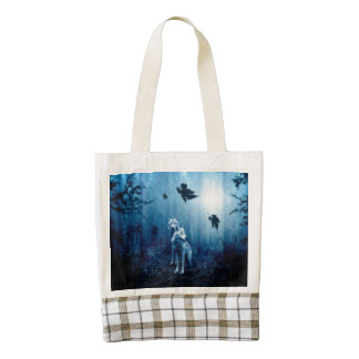 Two wolves - white wolf - wild animals zazzle HEART tote bag