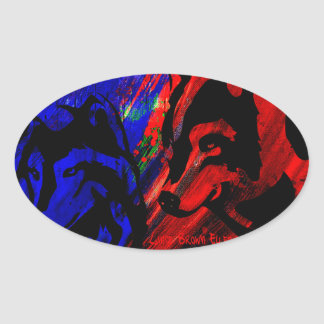 Two Wolves Wolf Original by Lance Brown Eyes Oval Sticker