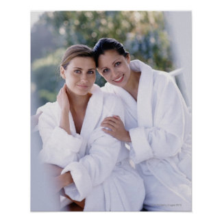 Two woman wearing bath robes poster