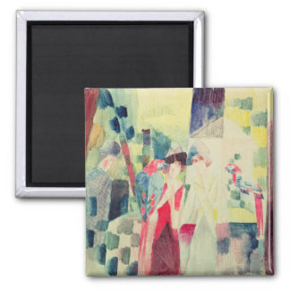 Two Women and a Man with Parrots, 20th century 2 Inch Square Magnet