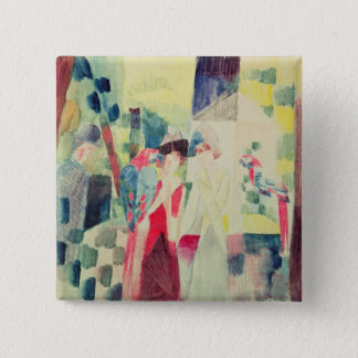 Two Women and a Man with Parrots, 20th century Pinback Button