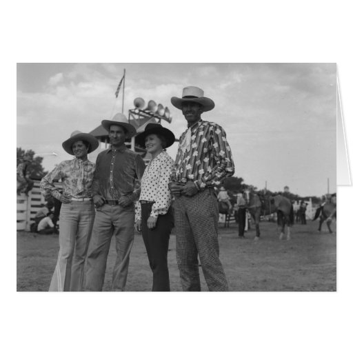 Two women and two men at a rodeo. greeting card