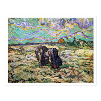 Two Women, Field with Snow, Van Gogh Fine Art Postcard