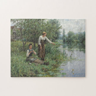 Two Women Fishing by Daniel Ridgway Knight Jigsaw Puzzle