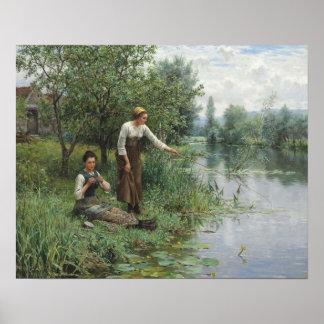 Two Women Fishing Poster - Daniel Ridgway Knight