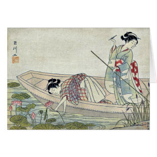 Two women gathering lotus by Suzuki,Harunobu Card