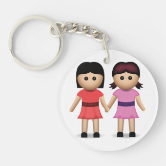 Two Women Holding Hands Emoji Double-Sided Round Acrylic Keychain