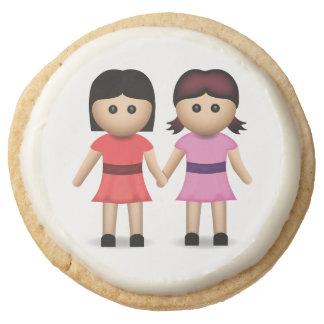 Two Women Holding Hands Emoji Round Shortbread Cookie