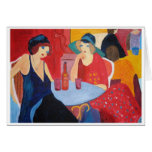 Two Women in a Cafe Greeting Cards
