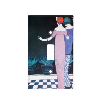 TWO WOMEN IN THE NIGHT ART DECO BEAUTY FASHION LIGHT SWITCH COVER