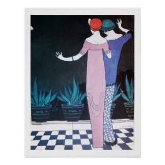 TWO WOMEN IN THE NIGHT ,Art Deco Beauty Fashion Poster