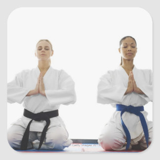 Two women meditating square sticker