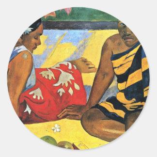 Two Women Of Tahiti (What'S New Parau Api) Classic Round Sticker