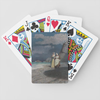 Two Women on a Gray Shingle Beach at Night Bicycle Playing Cards