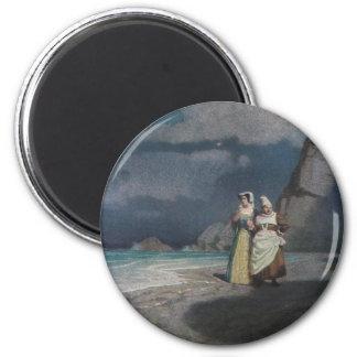 Two Women on a Gray Shingle Beach at Night Fridge Magnet