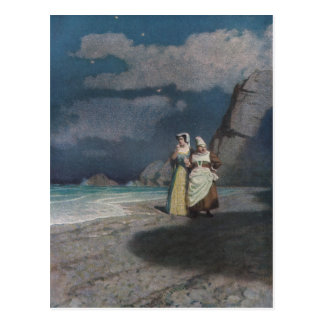 Two Women on a Gray Shingle Beach at Night Post Card