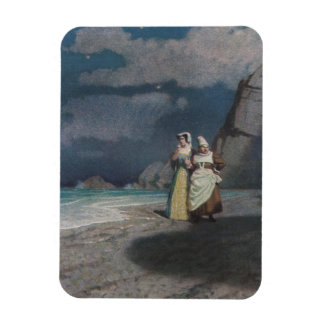 Two Women on a Gray Shingle Beach at Night Vinyl Magnets