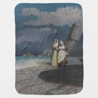 Two Women on a Gray Shingle Beach at Night Swaddle Blanket