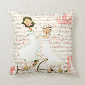 Two Women on a Vintage Bicycle Throw Pillow