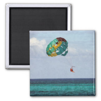 Two Women Parasailing in the Bahamas 2 Inch Square Magnet