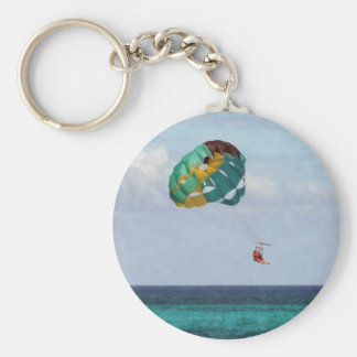 Two Women Parasailing in the Bahamas Basic Round Button Keychain