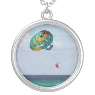Two Women Parasailing in the Bahamas Silver Plated Necklace