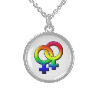 two women rainbow symbol necklace