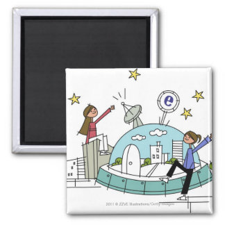 Two women sitting on top of a city 2 inch square magnet