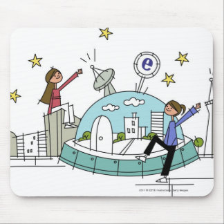 Two women sitting on top of a city mouse pad