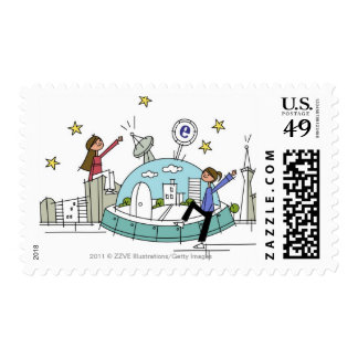 Two women sitting on top of a city postage stamps