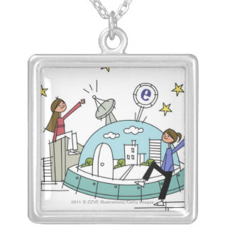 Two women sitting on top of a city silver plated necklace