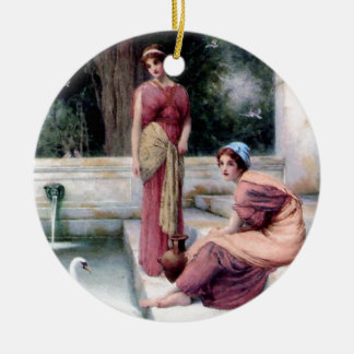 Two Women Swan painting Ceramic Ornament