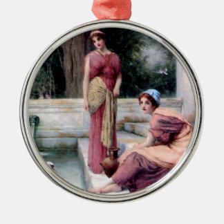 Two Women Swan painting Metal Ornament